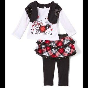Children's Apparel Net Black & Red Plaid Skirt Set